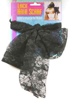 80's Lace Hair Scarf Black Retro Fancy Dress Party Halloween Costume Accessory](80's Accessories)