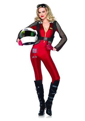 Pitstop Penny Race Car Driver Red Fancy Dress Halloween Sexy Adult Costume