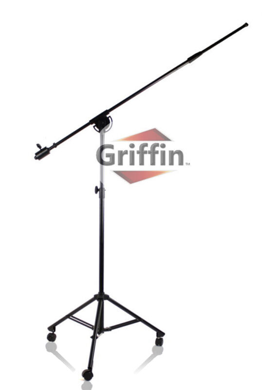 Studio Microphone Boom Stand on Wheels – Telescopic Arm Mount Rolling Caster Mic