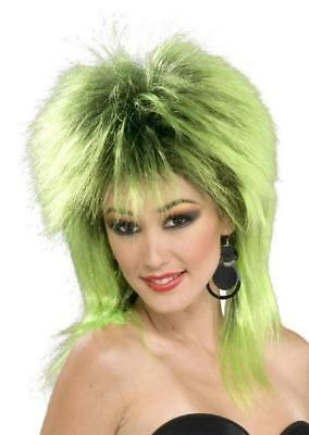 Green Mullet Wig (Lime Shock Wig Green 80's Spike Punk Fancy Dress Up Halloween Costume)