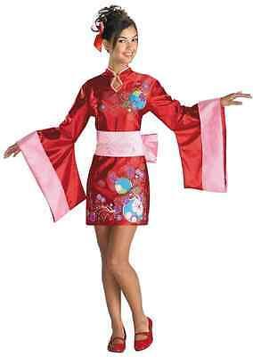 Kimono Kutie Cutie Red Geisha Asian Fancy Dress Up Halloween Teen Child - Asian Halloween Dress Up