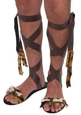 Caveman Sandals Stone Age Cave Man Fancy Dress Up Halloween Costume Accessory - Caveman Stone Age