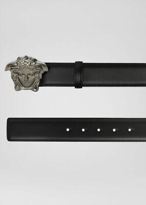 Authentic Versace Medusa Gunmetal Black Leather Belt Size 90 NWT