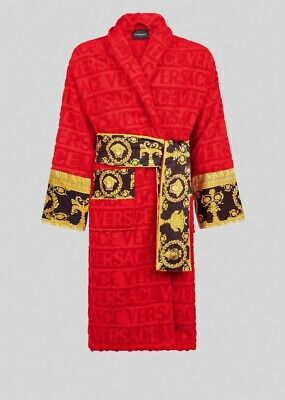 Mens Authentic Versace Red I LOVE BAROQUE BATHROBE XXL RRP £355