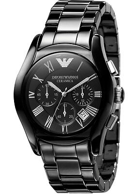 NEW EMPORIO ARMANI AR1400 MENS BLACK CERAMICA WATCH - 2 YEAR WARRANTY
