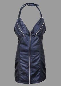 New-Ladies-Black-Sexy-Real-Genuine-Leather-Short-Women-Sleeveless-Dress