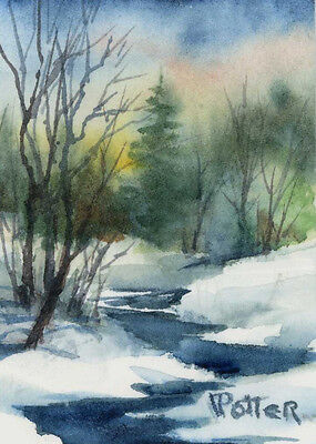 "ACEO Watercolor Landscape OOAK ""Winter Stream""  Free shipping US and Canada on Rummage"