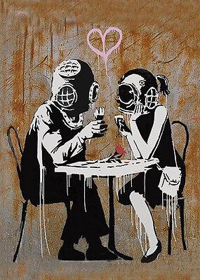 Banksy Think Tank Lovers graffiti street art on Canvas ACEO