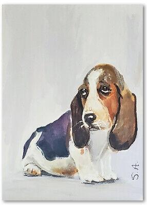 ACEO original painting Basset Hound Baby Dog art puppy pet portrait animal pet Basset Hound Dog Portrait