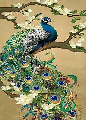 NEEDLEPOINT Canvas 14 or 18 count_Abstract Art, Needlepoints, Peacock Bird 14 Count Canvas