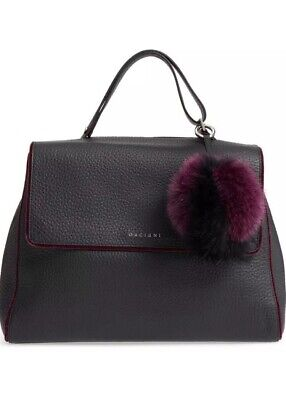 Orciani Black Leather Large Hand Bag with Purple Fur Accessories New $837.38