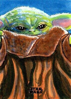 Star Wars  The Mandalorian  Season 1 ~ JASON MONTOYA Sketch Card ~ Baby Yoda
