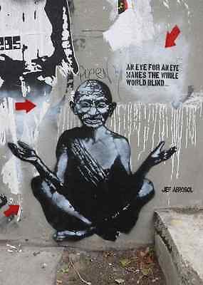 Banksy Gandhi an eye for an eye graffiti street art on Canvas ACEO