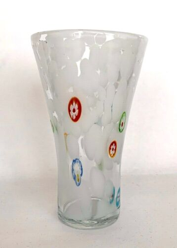 "VINTAGE Murano Millefiori Art Glass 6.25"" VASE White/Clear Various Color Canes"
