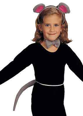 Grey Mouse Ears Halloween (Mouse Kit Ears Tail Gray Grey Animal Dress Up Halloween Child Costume)