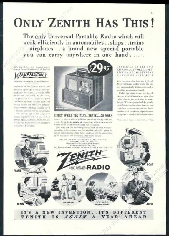 1939 Zenith Universal Portable Radio photo vintage print ad