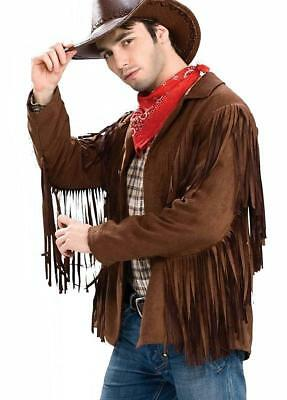 Buffalo Bill Jacket Fringe Brown Wild West Fancy Dress Halloween Adult Costume