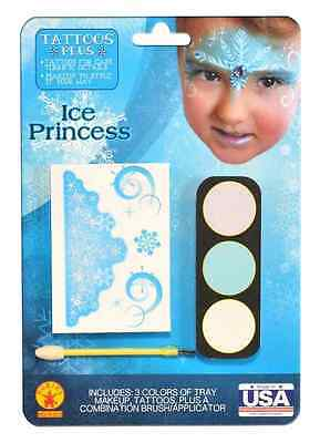 Ice Princess Tattoo Makeup Frozen Fancy Dress Halloween Child Costume Accessory