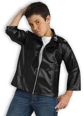 Greaser Jacket 50's Black Leather Fancy Dress Halloween Child Costume Accessory - Boys Greaser Jacket
