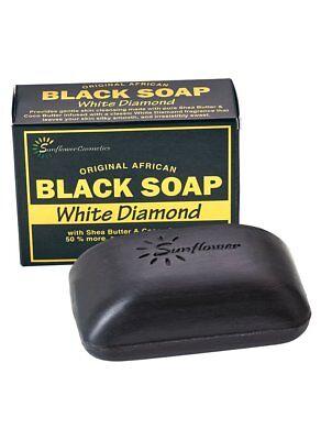 Sunflower Original African Black Soap White Diamond with Shea & Cocoa Butter 5oz ()