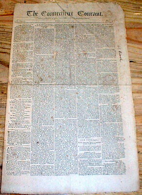Original 1799 Connecticut Courant Hartford Newspaper   Oldest Continuous In Us