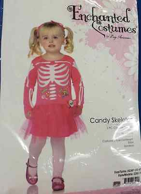 Candy Skeleton Skull Bones Pink Cute Fancy Dress Up Halloween Child Costume ()