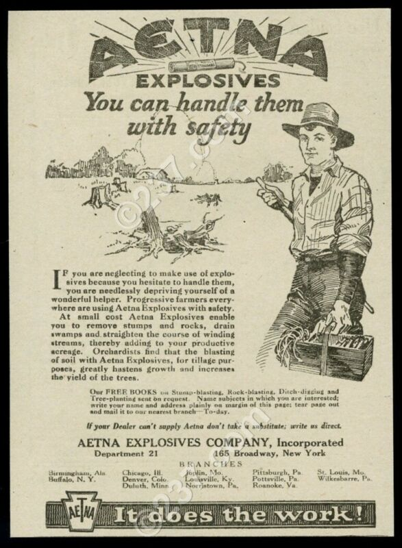 1920 Aetna explosives for land clearing vintage print ad