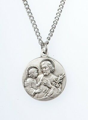 Child Medal Pendant - Pewter Saint St Joseph with Child Dime Size Medal Pendant, 3/4 Inch