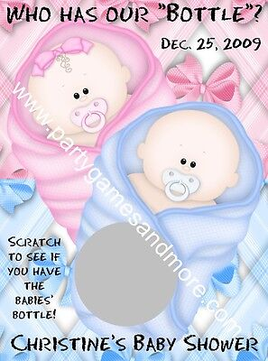 UNIQUE PERSONALIZED TWINS BABY SHOWER SCRATCH OFF LOTTO GAME CARDS