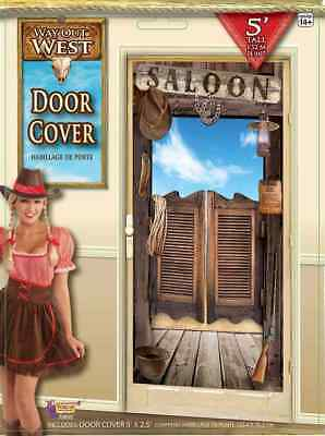 Way Out West Wild Old Saloon Cowboy Western Theme Party Decoration Door Cover - Western Themed Parties