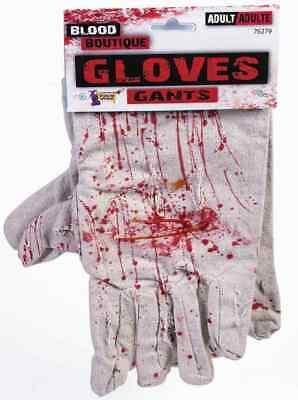 Bloody Work Gloves Splattered Killer Fancy Dress Up Halloween Costume Accessory - Work Halloween Dress Up