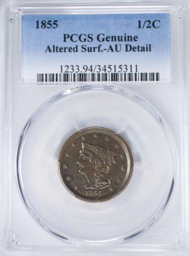 1855 BRAIDED HAIR COPPER HALF CENT PCGS GENUINE AU DETAIL low mintage