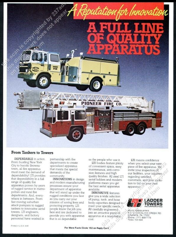 1984 Ephrata PA Pioneer Fire Company fire engine truck photo Ladder Towers ad