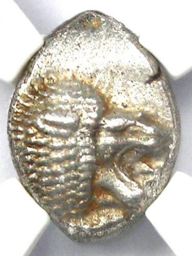 Ancient Ionia Miletus AR Obol Coin 500 BC (Lion, Stellate) - NGC Choice AU