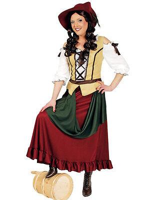 Magd Kostüm rot Damen Marktfrau Wirtin Mittelalter Kleid Karneval Fasching