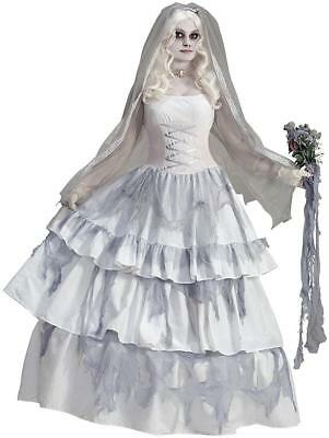 Victorian Ghost Bride Spirit Dead Lady Fancy Dress Up Halloween Adult Costume