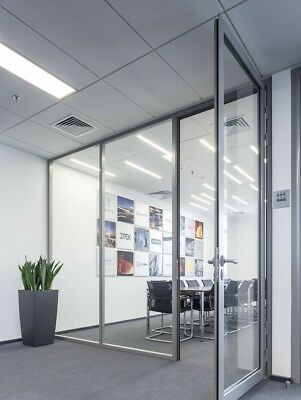 Cgp Office Partition System Glass Aluminum Wall 15x9 W Door Clear Anodized