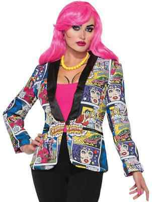 Pop Art Female Blazer 50's Comic Fancy Dress Halloween Adult Costume Accessory