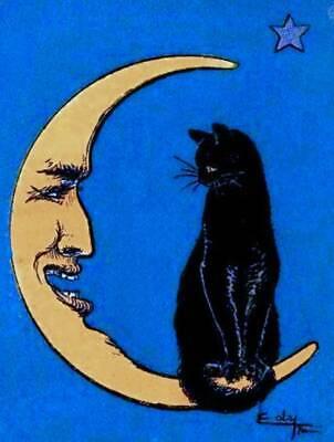 Halloween Black Cat Gold Moon Dark Blue background Old - Dark Halloween Art