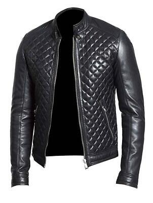 Bike Race Halloween 2 (NOORA Hand Made Mens Diamond Quilted Body Moto Cafe Racer Biker Black Jacket)