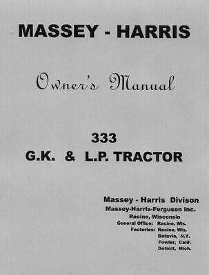 Massey - Harris 333 Owners Manual
