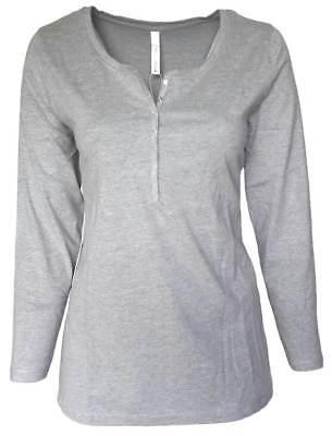 Baumwolle Langarm Henley Shirt (SHEEGO Damen Shirt Langarm Longsleeve grau meliert Henley GR. 44 - 50 NEU - 062)