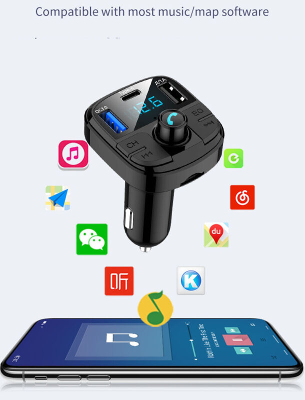 Type-C USB PD Quick Car Charger Bluetooth FM Transmitter for iPhone X Samsung S9