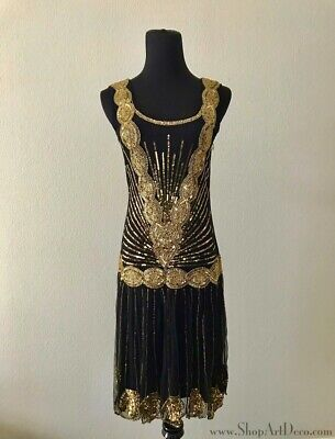 1920s Flapper Dress | Black + Gold Gatsby Roaring 20s | Frock and Frill | (Gatsby Gold)
