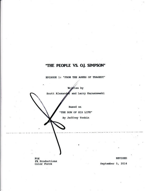 SARAH PAULSON SIGNED THE PEOPLE VS O.J. SIMPSON AMERICAN CRIME STORY SCRIPT EP 1