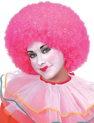 Neon Clown Wigs - Neon Afro Wig Clown Fancy Dress Up Halloween Adult Costume Accessory 4 COLORS