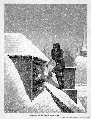 Schornsteinfeger, Kaminfeger,frierend auf dem Dach, Original-Holzstich von 1876