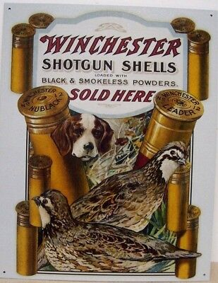 WINCHESTER Gun Hunting Metal Sign Bird Quail Dog Ammo Picture Cabin Decor Gift