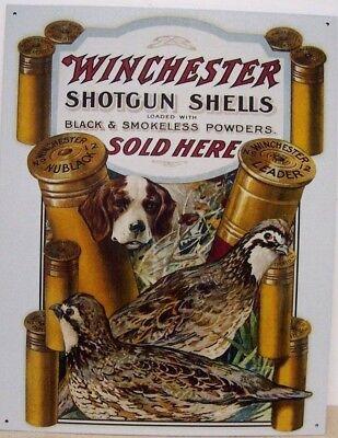 WINCHESTER Gun Hunting Metal Sign Bird Quail Dog Ammo Picture Cabin Decor Gift