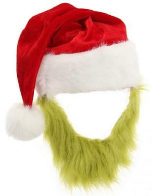 Grinch Santa Hat Beard Dr Seuss How Stole Christmas Halloween Costume Accessory (Dr Seuss Halloween)